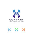 x letter and link connection logo icon template vector image vector image