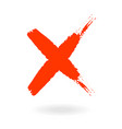 x red letter x made with ink mark grunge style vector image vector image