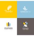 Feather icon Set of logo design templates vector image
