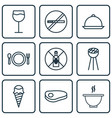 set of 9 eating icons includes dessert wineglass vector image