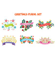 Floral design elements set with ribbons for vector image