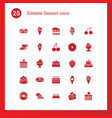 25 dessert icons vector image vector image