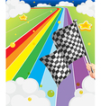 A colorful road with a flag vector image