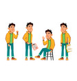 asian bad boy poses set high school child vector image vector image