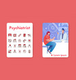 banner psychiatrist and linear icons set vector image