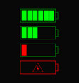 battery indicator items battery icons set for vector image vector image