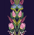 border with proteas flowers trendy floral vector image