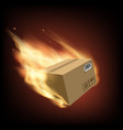 box on fire vector image vector image