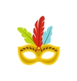 Carnival mask with feathers icon flat style vector image vector image