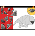 cartoon anteater jigsaw puzzle game vector image vector image