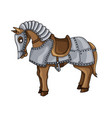 cartoon character of war horse in armour suit vector image