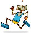 cartoon running robot vector image vector image