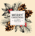 christmas card with holly and pine cones vector image