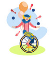 clown on a bike juggles in minimalist style vector image