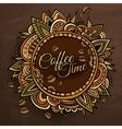 Coffee time decorative border label design vector image vector image