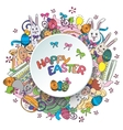colorful happy easter greeting card vector image