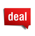 Deal red 3d realistic paper speech bubble isolated vector image