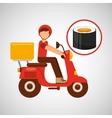 delivery boy ride motorcycle maki sushi vector image vector image