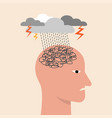 depressed or mental illness head profile with vector image