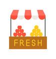 fruit stall farmer market flat icon concept vector image