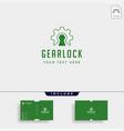 gear lock logo design protect industry icon vector image