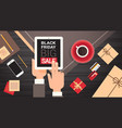 hand holding digital tablet with black friday big vector image