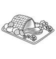 happy christmas special roasted pork menu vector image vector image