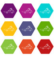 hatchback with boxes icons set 9 vector image vector image
