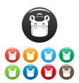 kid backpack icons set color vector image vector image