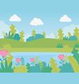 landscape meadow flowers lake foliage nature vector image
