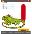 letter i with cartoon iguana vector image