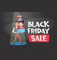 man holding gift boxes stack black friday sale vector image