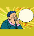 man screaming calling pop art vector image vector image