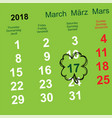 march 17 day of st patrick leaf clover calendar vector image vector image