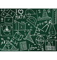 mathematics icons and formulas on school board vector image vector image