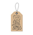 monoline calligraphy phrase love you on vector image vector image