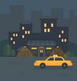 night city cafe flat taxi car near a restaurant vector image
