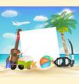 paper ball glasses diving mask ukulele on beach vector image