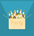 party time box with beer flat vector image