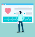 patient looks at medical card with cardiogram vector image vector image