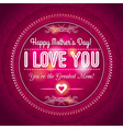 Red Mothers day greeting card with hearts vector image vector image