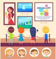 school kids in art gallery pictures exhibition vector image