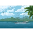 Sea Landscape with Ship Mountains and Birds vector image vector image