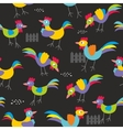 Seamless pattern with colorful roosters vector image vector image