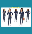 set of businesswoman character vector image vector image