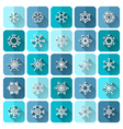 Set of square snowflake icons with long flat vector image