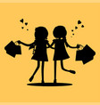 silhouettes of girls with shopping bags friends vector image vector image