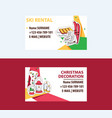 ski rental and christmas decorations business card vector image