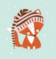 sleeping cute fox in hood vector image vector image