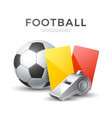soccer football poster 3d whistle ball card vector image vector image